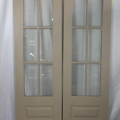 "60.5"" Double Front Door Slab Set - 6 Lite Stainable Fiberglass to replace a sidelite unit and transom"