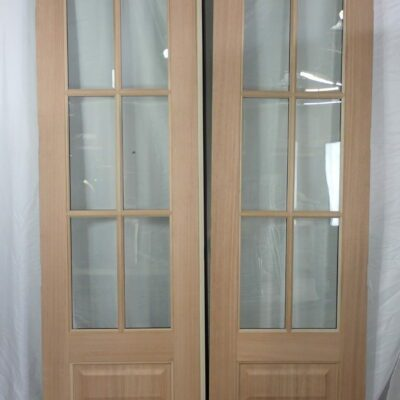 "60.5"" Front Double Door Hybrid with Fiberglass Outside and Mahogany Inside - 6 Lite - to replace sidelite unit with transom"