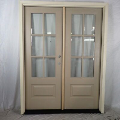 "60.5"" Double Front Door 6 Lite in stainable fiberglass to replace sidelite unit"