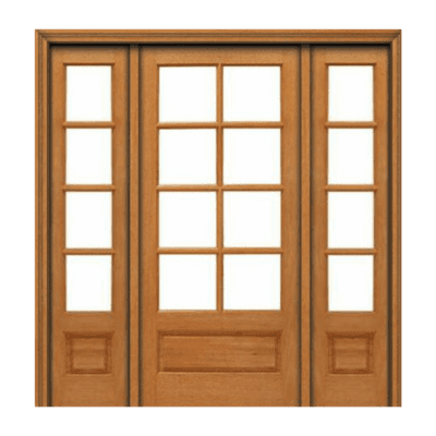 True Divided 8 Lite Style Mahogany Sidelite Unit with Beveled Glass - 8/4PB - SPECIAL ORDER