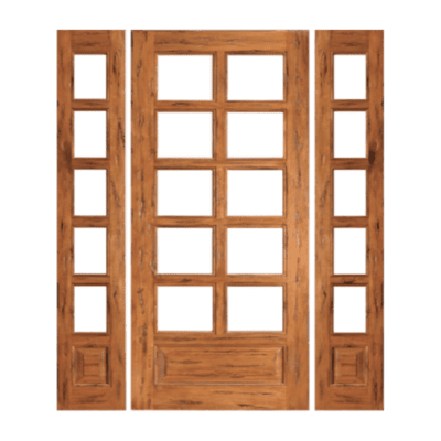 True Divided 10 Lite Style Mahogany Sidelite Unit with Beveled Glass - 10/5 - SPECIAL ORDER