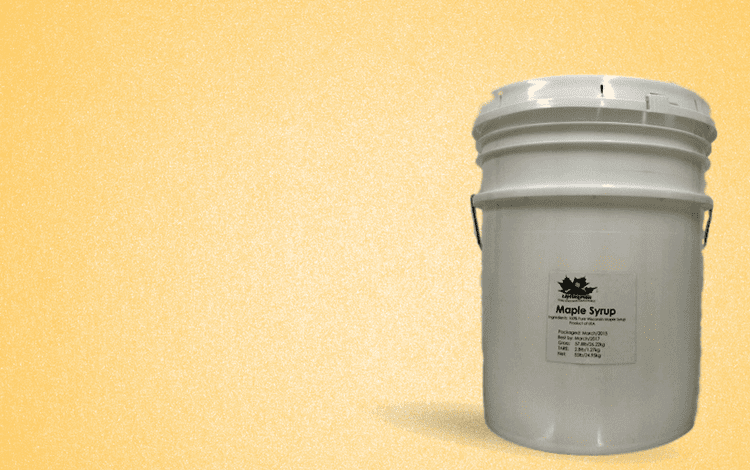 5 gallon bulk pail of Wisconsin Natural Maple Syrup