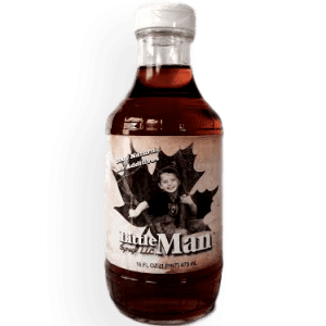 Glass bottle filled with Wisconsin's natural maple syrup. Produced by Little Man Syrup LLC
