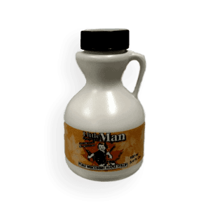 Plastic bottle filled with Wisconsin's natural maple syrup. Produced by Little Man Syrup LLC