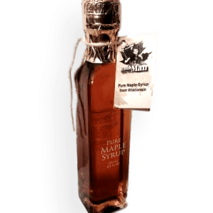 Glass bottle filled with Wisconsin's natural maple syrup.