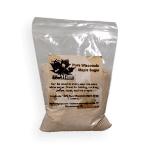 One pound of pure and natural maple sugar. Produced by Little Man Syrup LLC