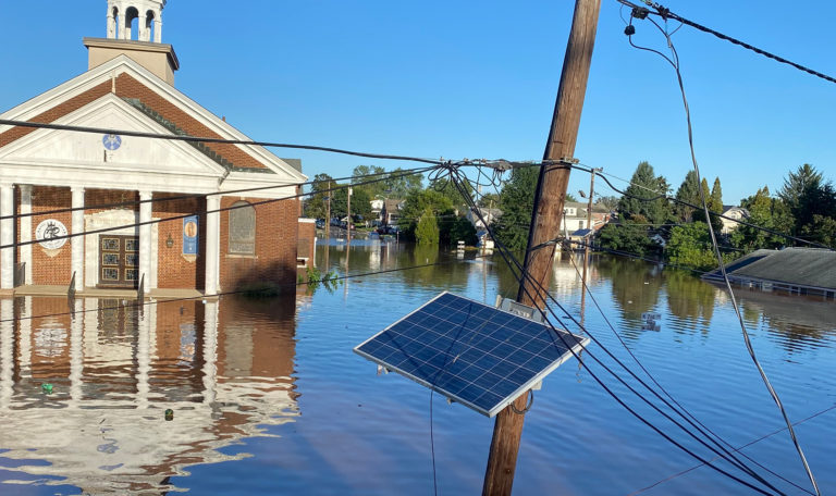 Christ the Redeemer Roman Catholic Church in Manville surrounded by flood waters on Sept. 2, 2021. (Photo by Kaylee Sugot)